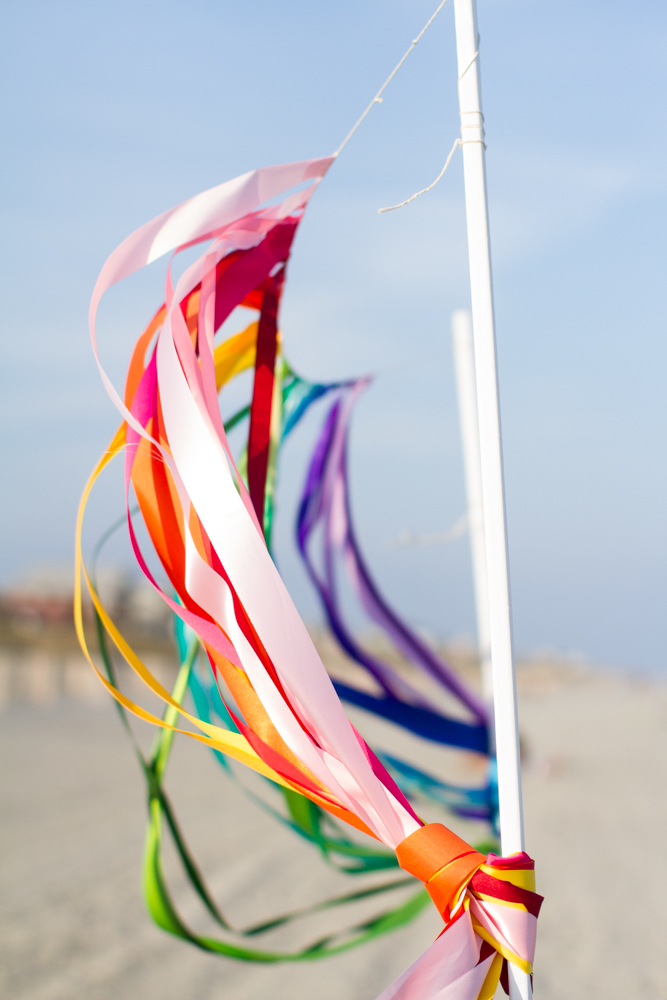 Rainbow wedding streamers