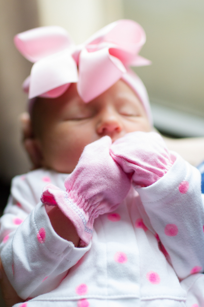 Newborn pink mittens | Lorin Marie Photography