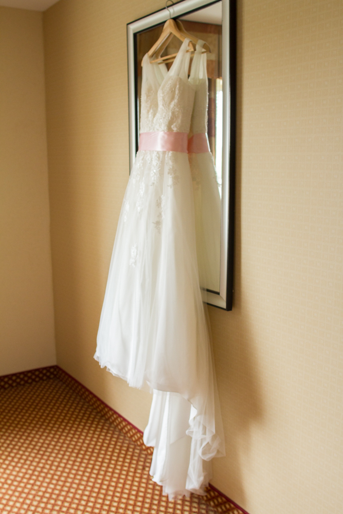 David's Bridal dress with pink sash | Lorin Marie Photography