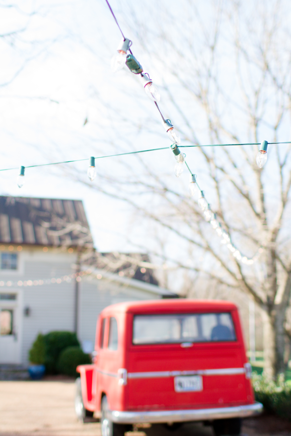 Classic red truck engagement photos | Lorin Marie Photography