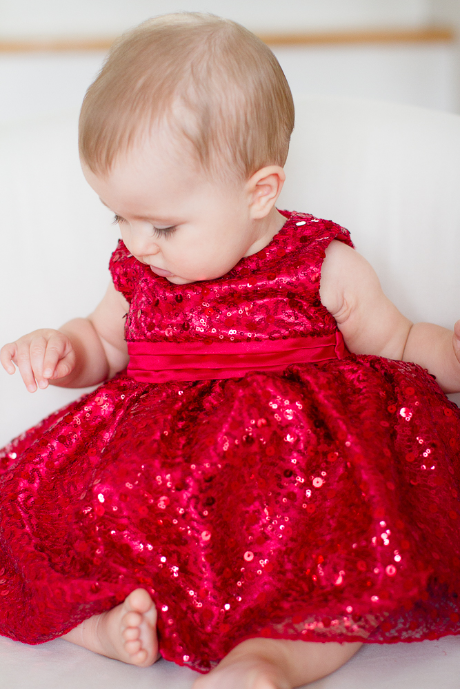 Red sequin baby dress | Lorin Marie Photography