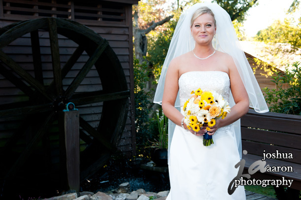 lovely bride outside at Corley Mill House & Garden