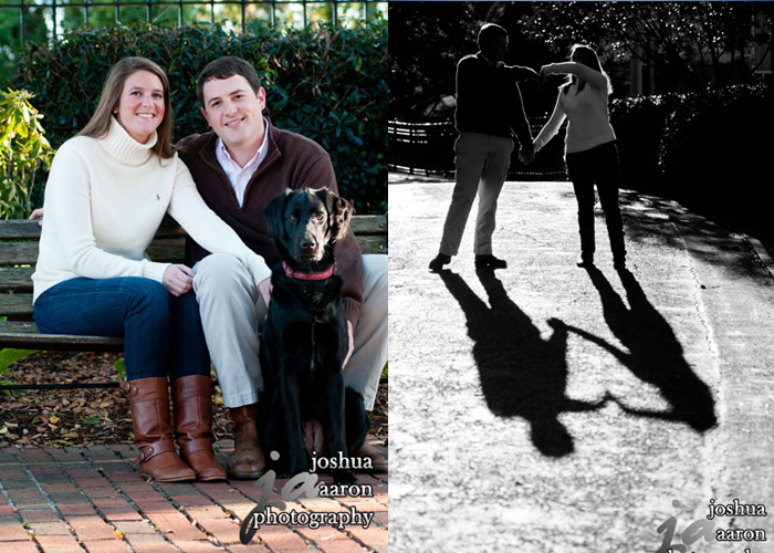 couple with dog and shadow of couple making heart shape
