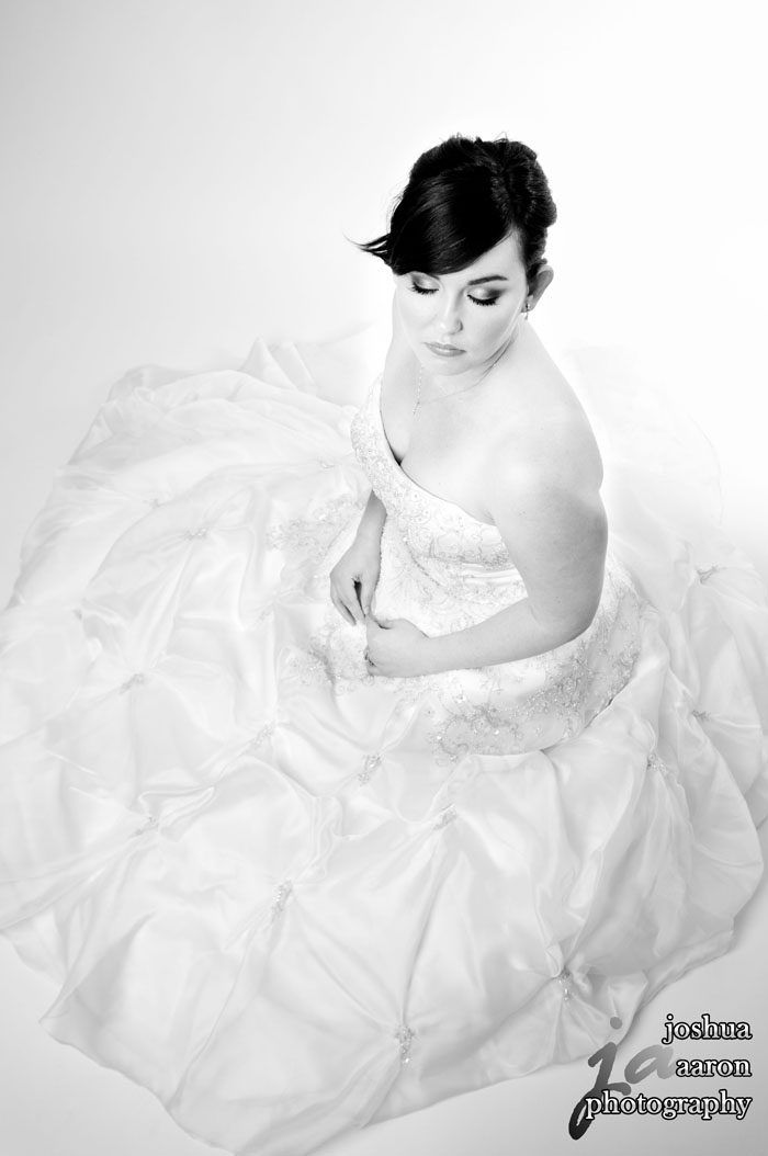 Looking Down black and white studio bridal portrait