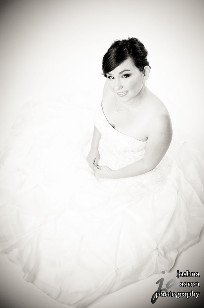 Black and White studio bridal portrait