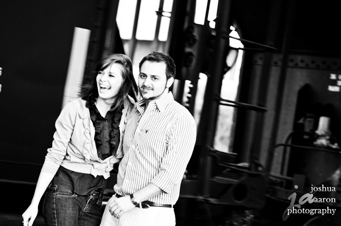 engaged couple at train station columbia sc