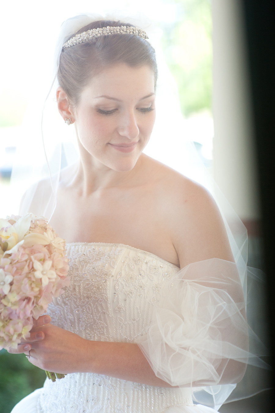 Blushing Bride Before the Ceremony
