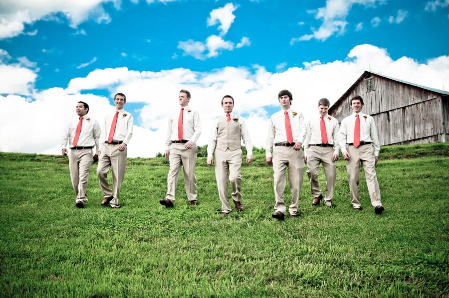 The groomsmen descent