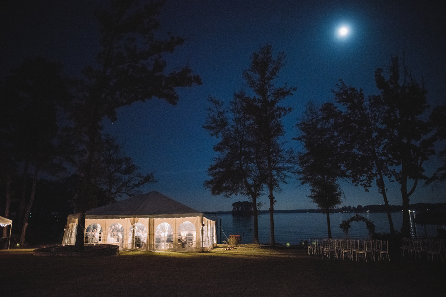 reception tent night time