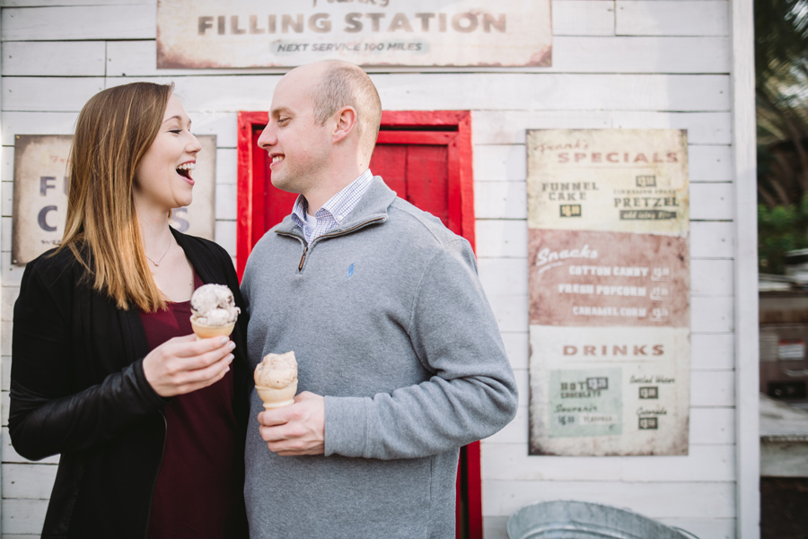 engagement session with ice cream
