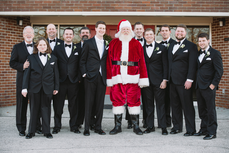 groomsmen with santa