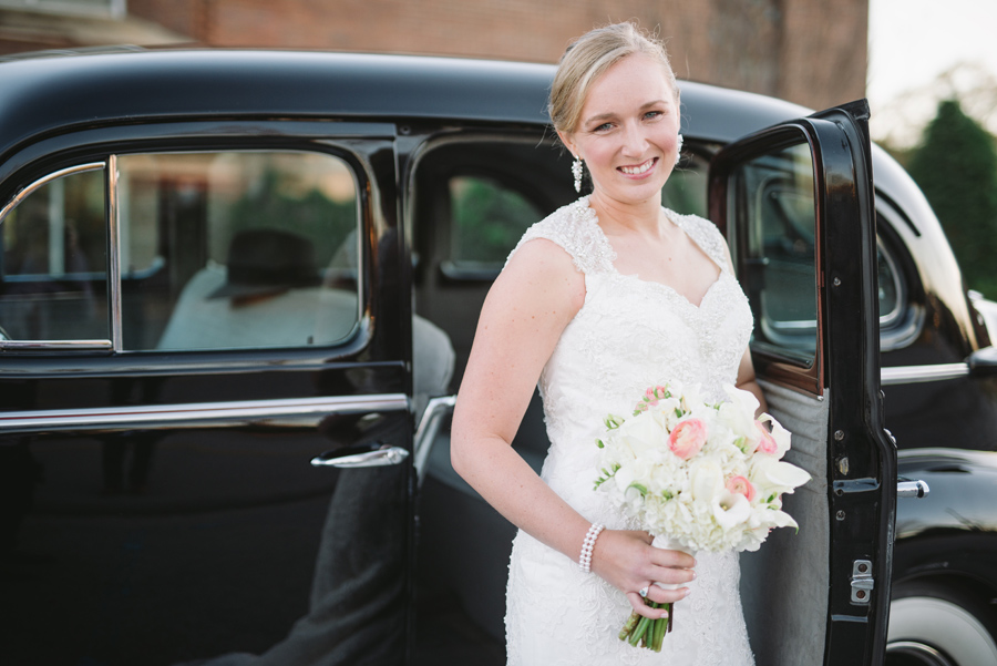 bride with vintage car