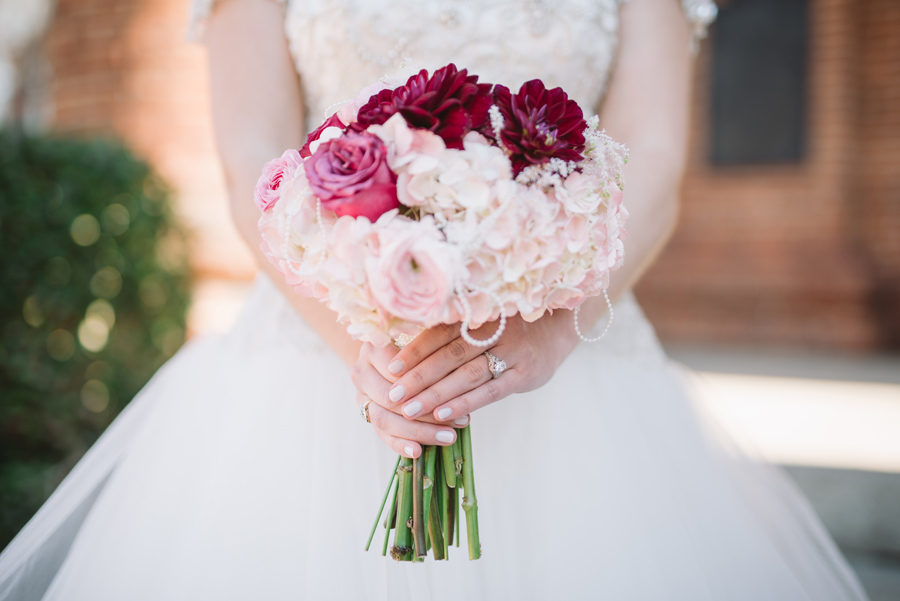 american floral red and blush bouquet