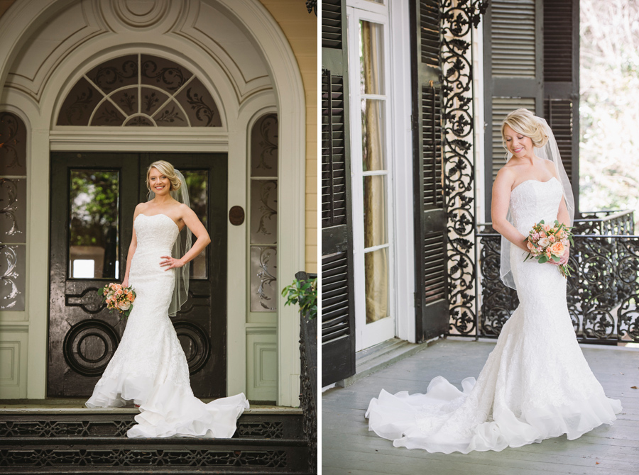 bride on lace house steps
