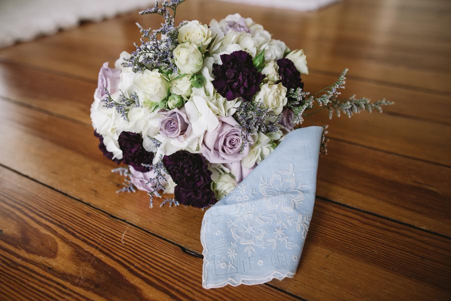 bride bouquet with hankerchief
