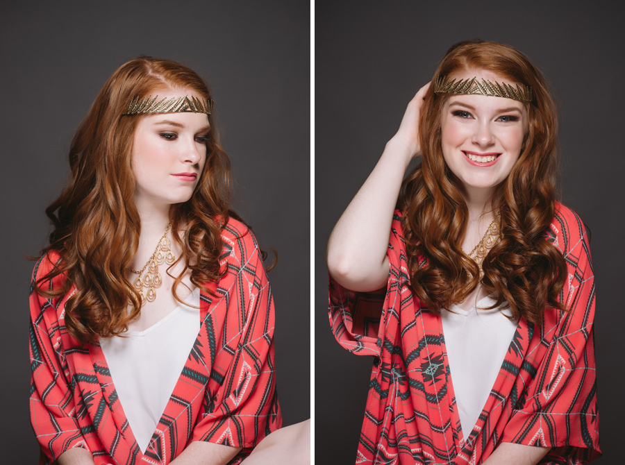trendy senior shoot pretty makeup red hair