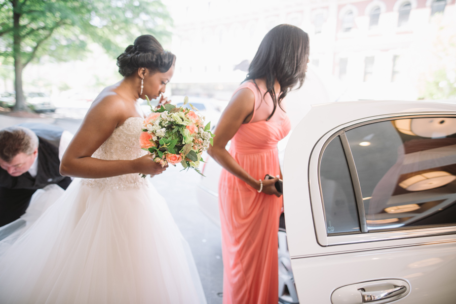 bride getting in limo