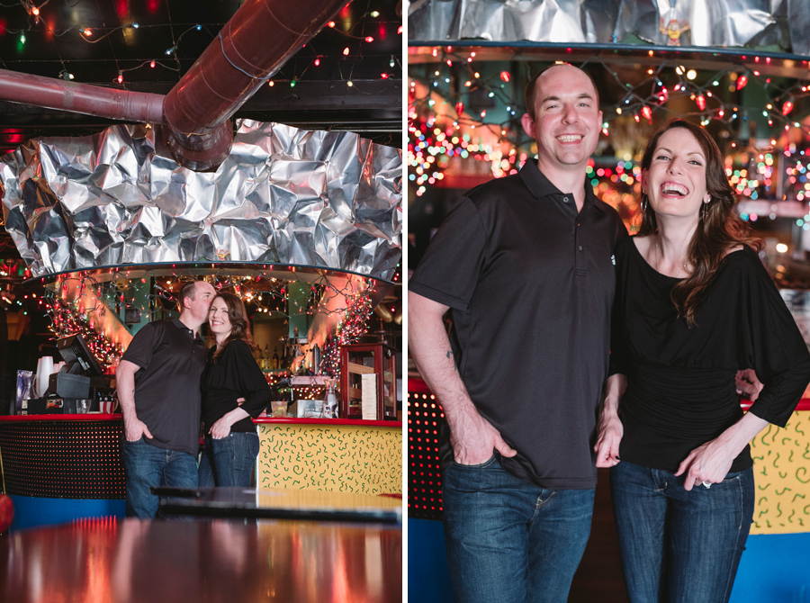 fun bar engagement session