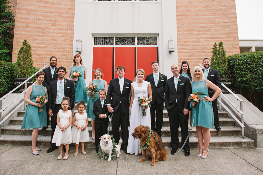 wedding party plus dogs
