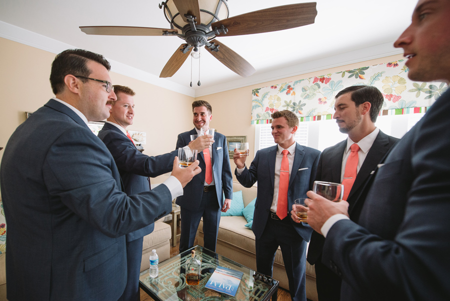 toast with groomsmen