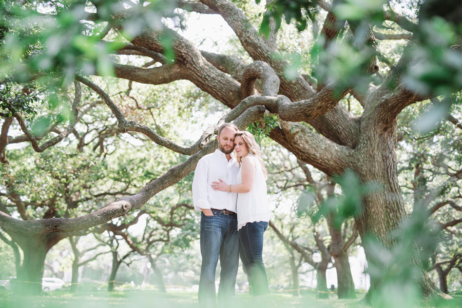 engagement session under oaks in Charleston