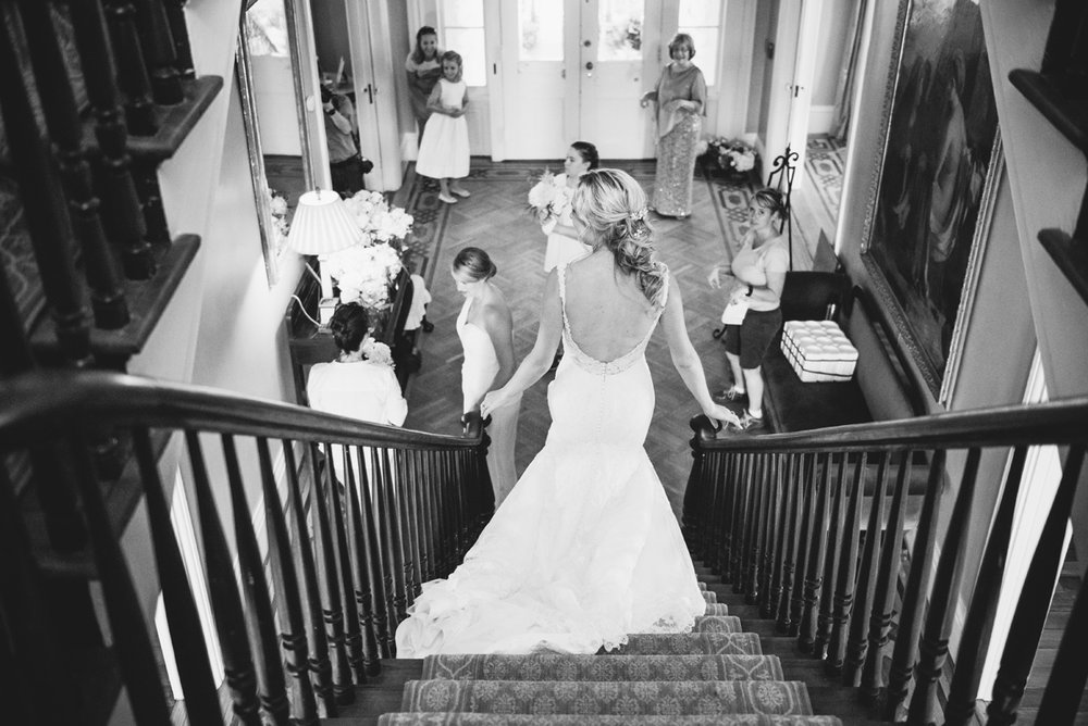 bride coming down stairs