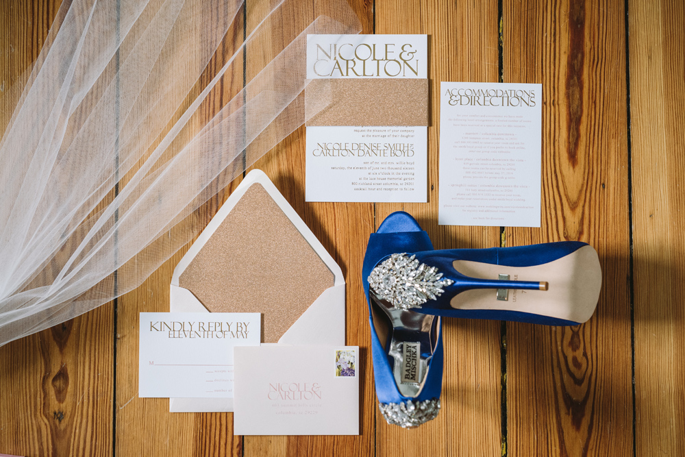 invitation suite and shoes