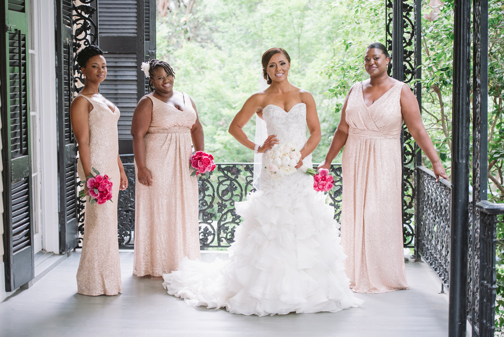 bride and bridesmaids in sequins