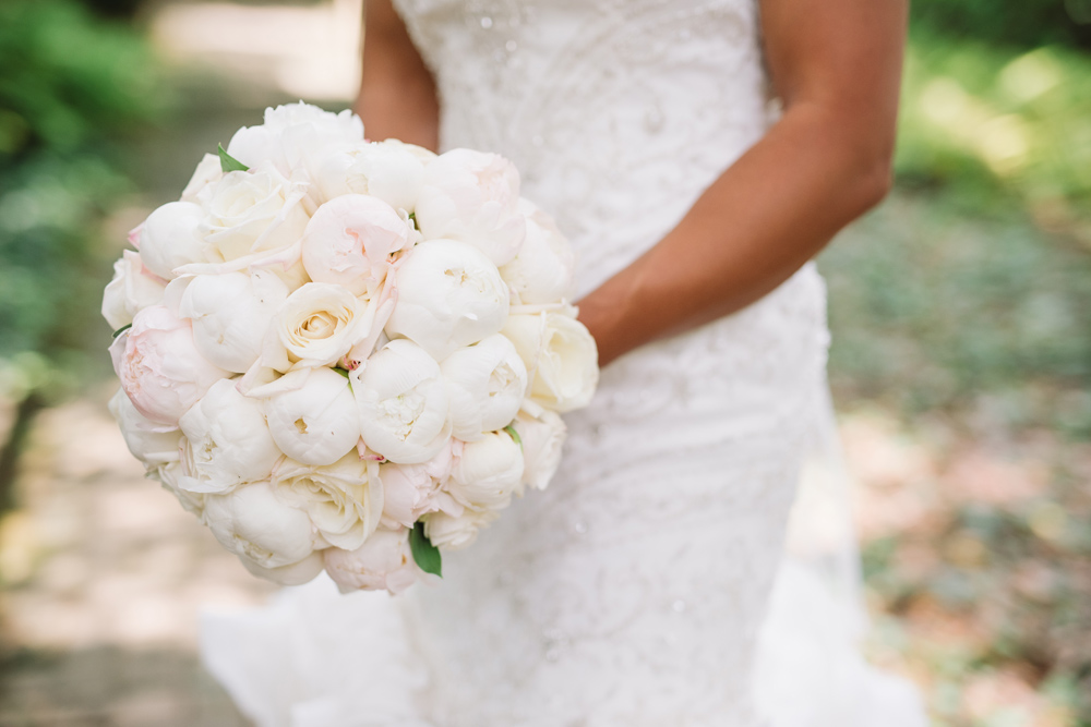 bridal bouquet white peonies