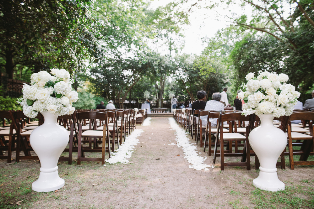 ceremony setup wedding garden