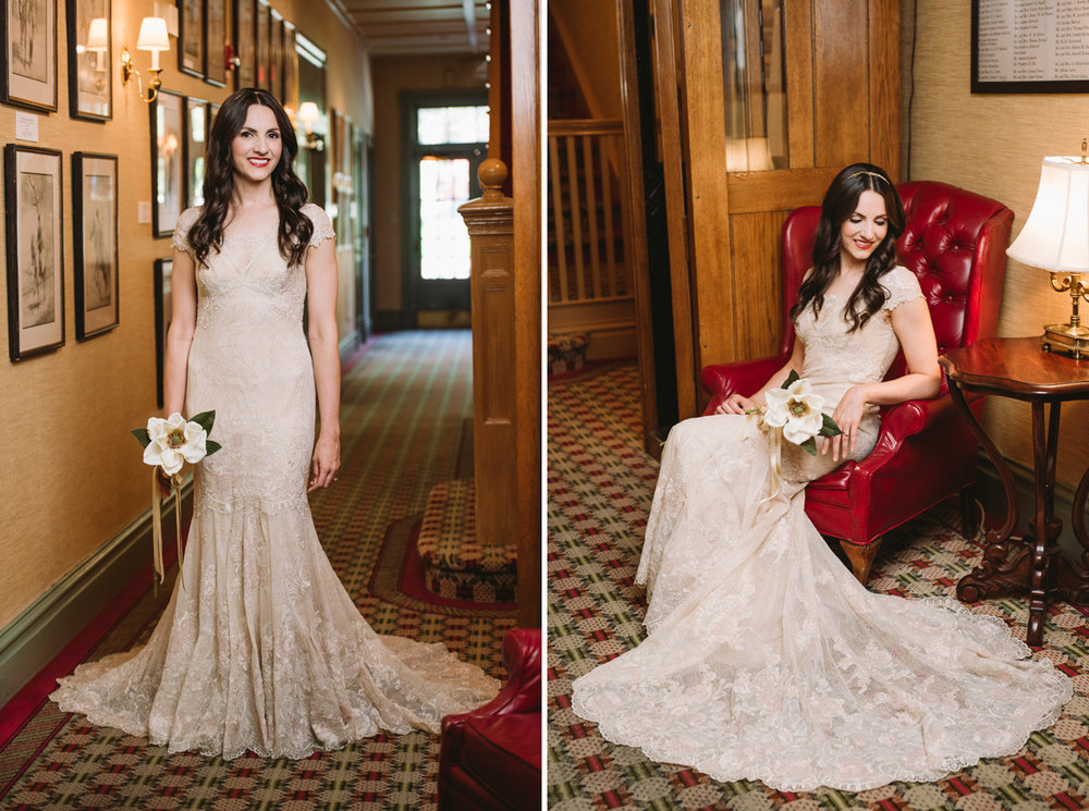 historic hotel bridal portraits