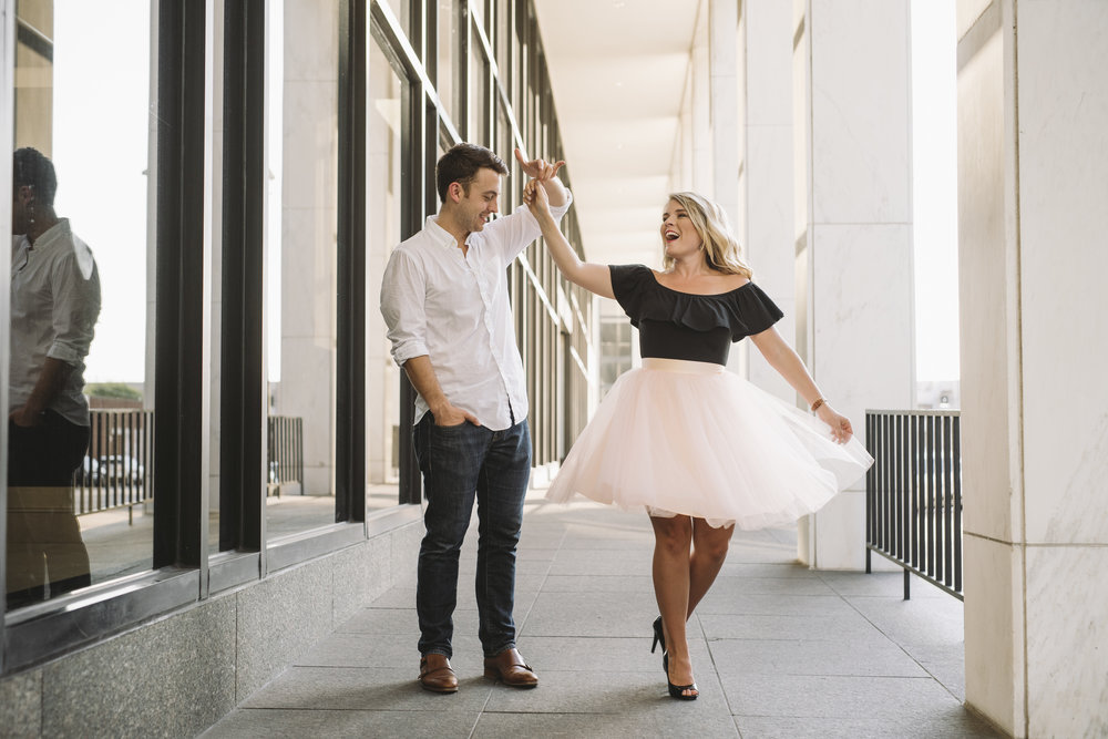 tulle skirt twirling engagement