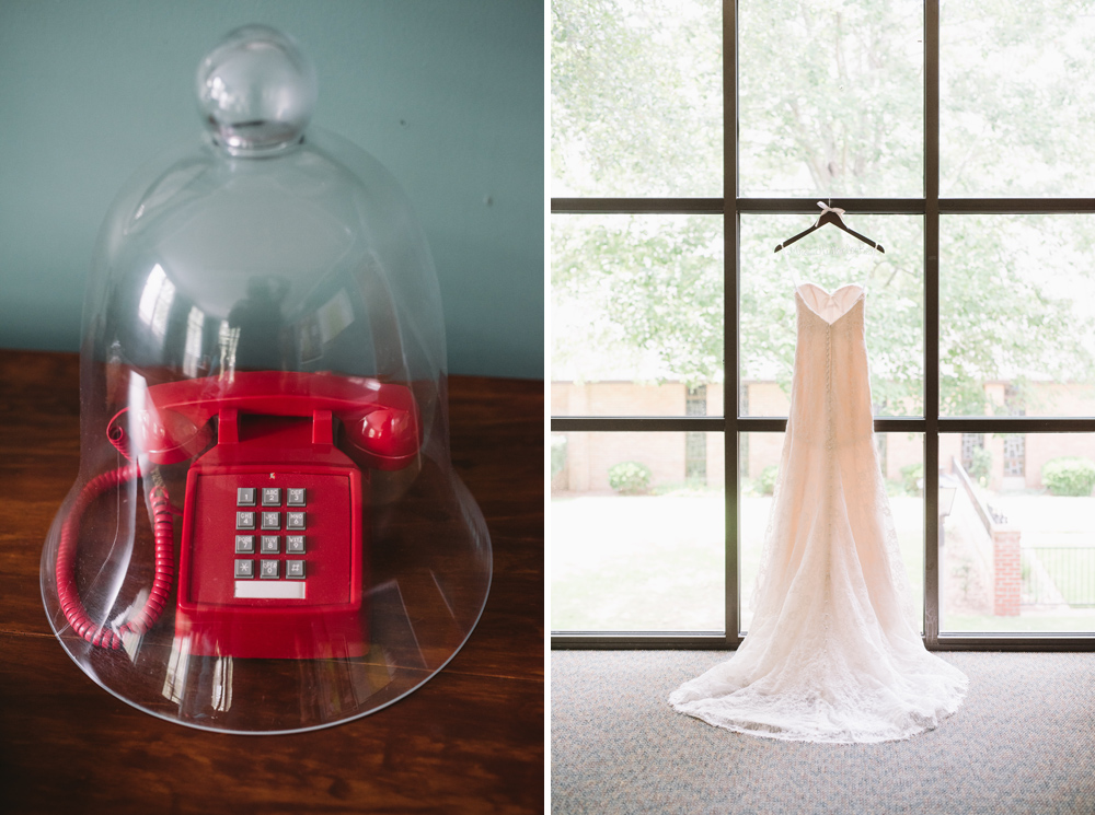red phone wedding dress