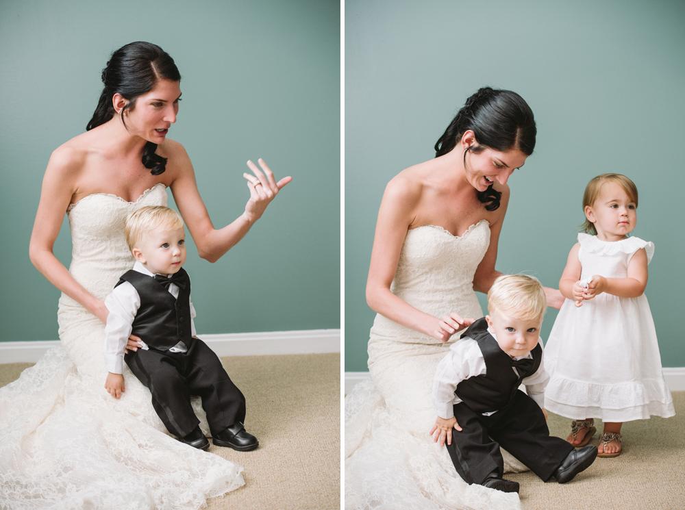 cute bride and kids