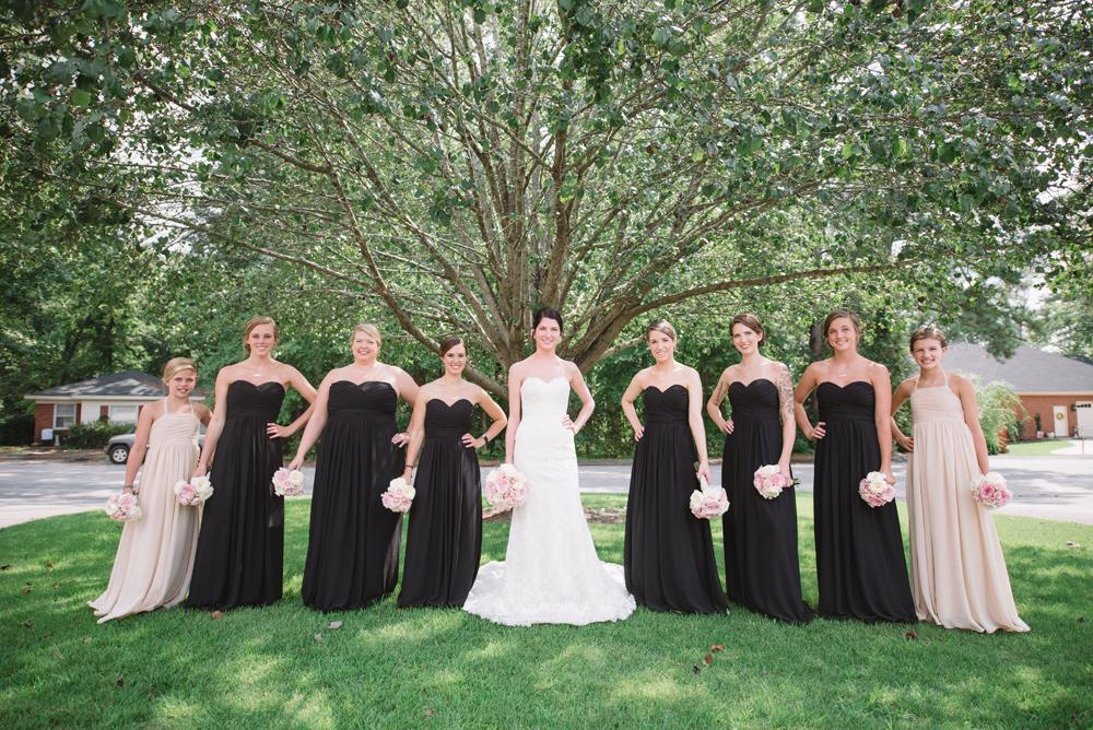 black and blush bridal party
