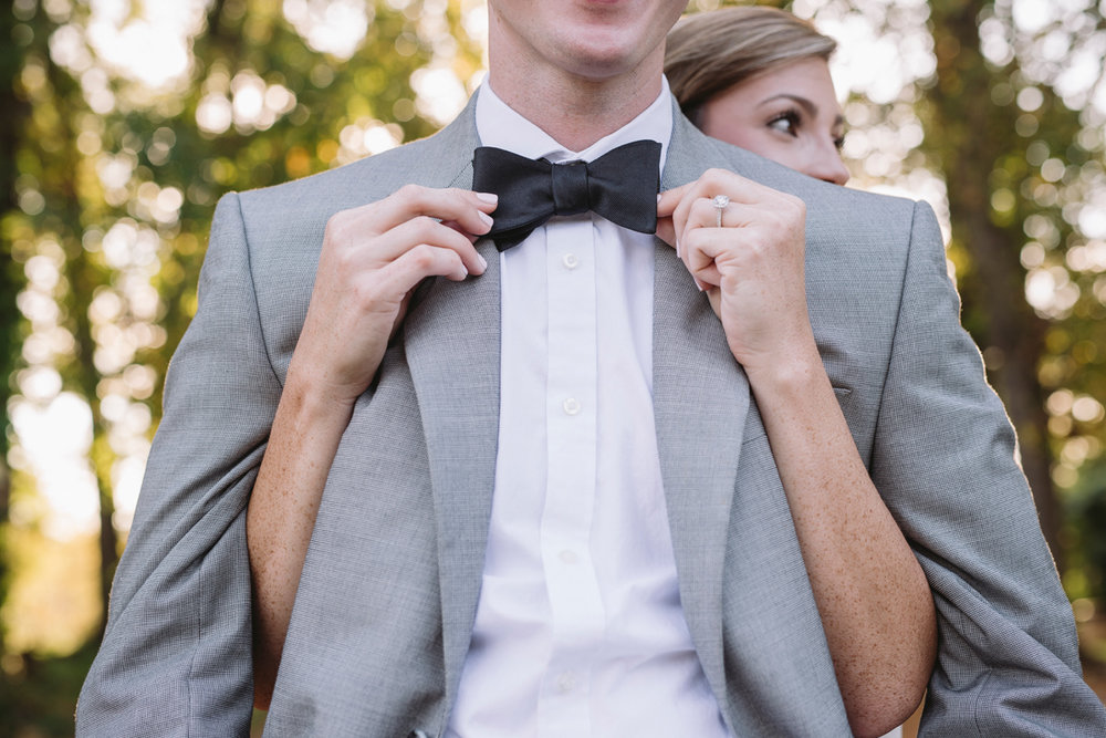 bow tie engagement photo