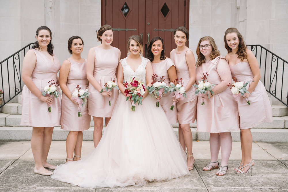 bride-bridesmaids-blush-dress