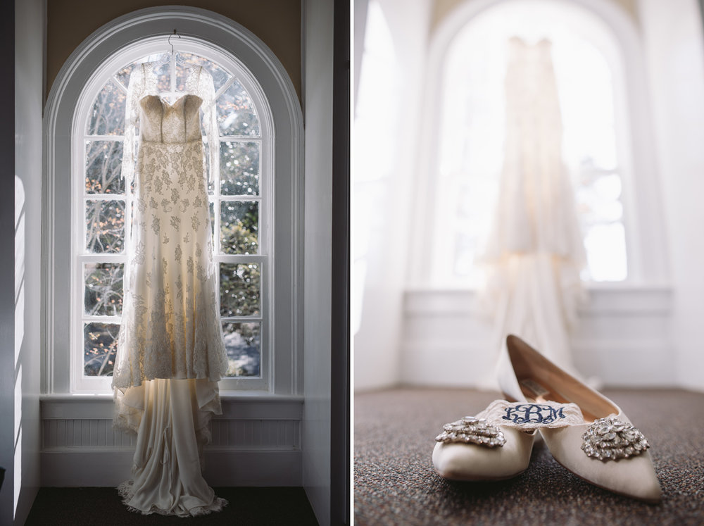 dress in window brides shoes