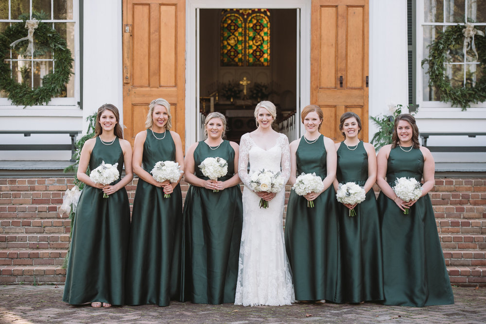 bridesmaids emerald green