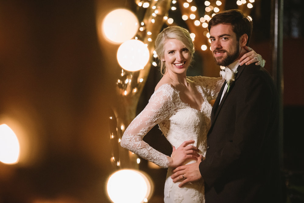 evening wedding portraits christmas lights