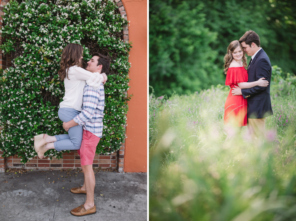cute engagement session near the river