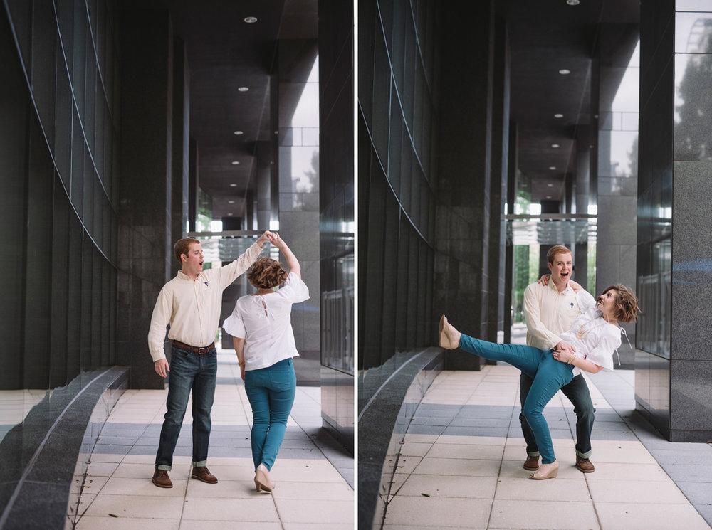 dancing photos engagement