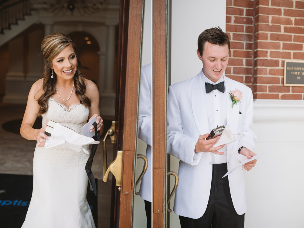 bride and groom exchange letters