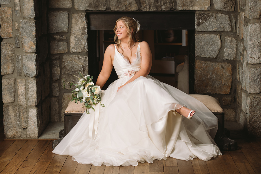 fireplace bridal portrait