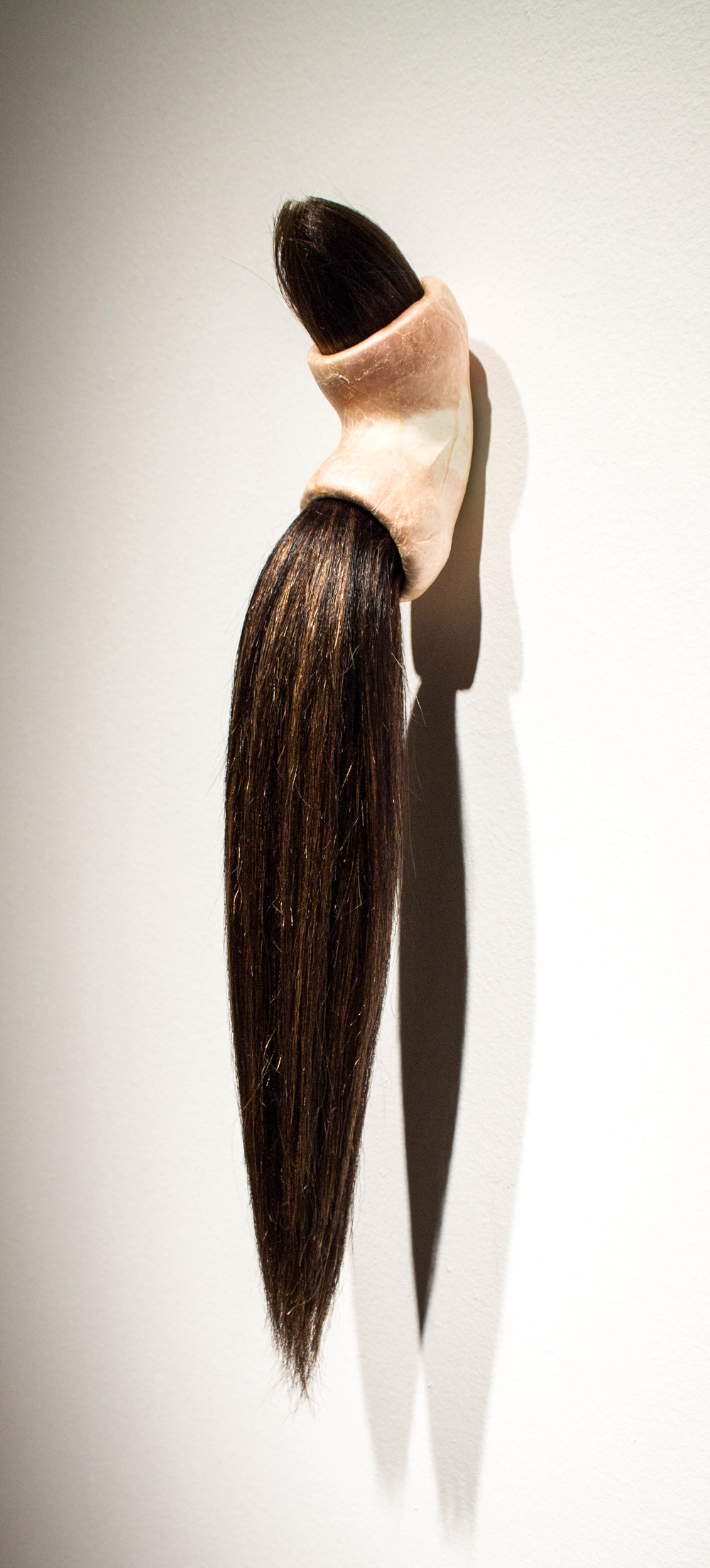 Follicle   - 2014 - human hair extensions, synthetic wig hair, hog intestines, fiberglass insulation, and pvc - 20 x 4 x 4 in.