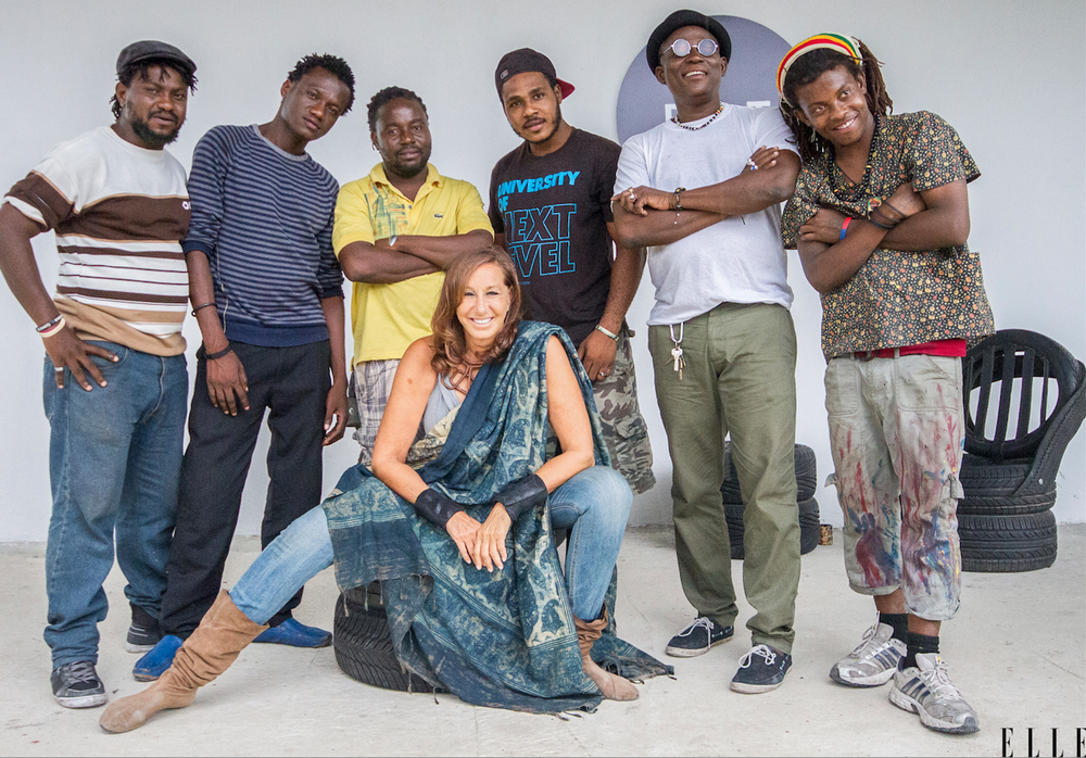 Donna Karan & Haitian artisans at the new D.O.T. facility. Elle Nov/Dec 2015