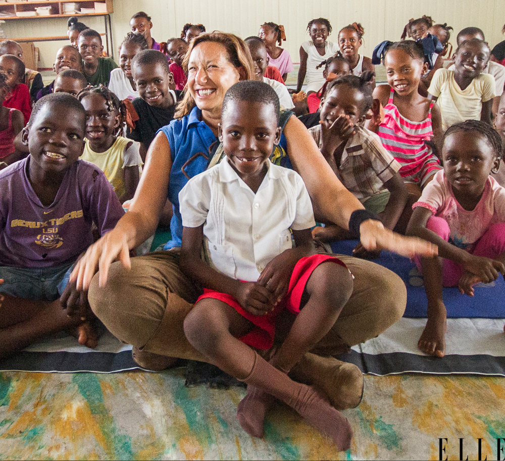 Donna Karan at an orphanage in Port-au-Prince, Haiti. Elle  Nov/Dec 2015