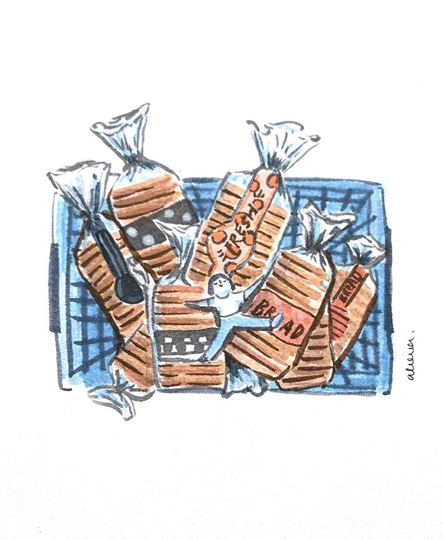 #flpinktober 11: Groceries • If there is bread, aisle be there. My favorite part of grocery shopping is walking up and down the bread aisle bathing in the loafly scent of freshly baked goods. Anyone with me? Aisle see you there. 😏 #inktober2018 #inktoberprompts #inktoberday14