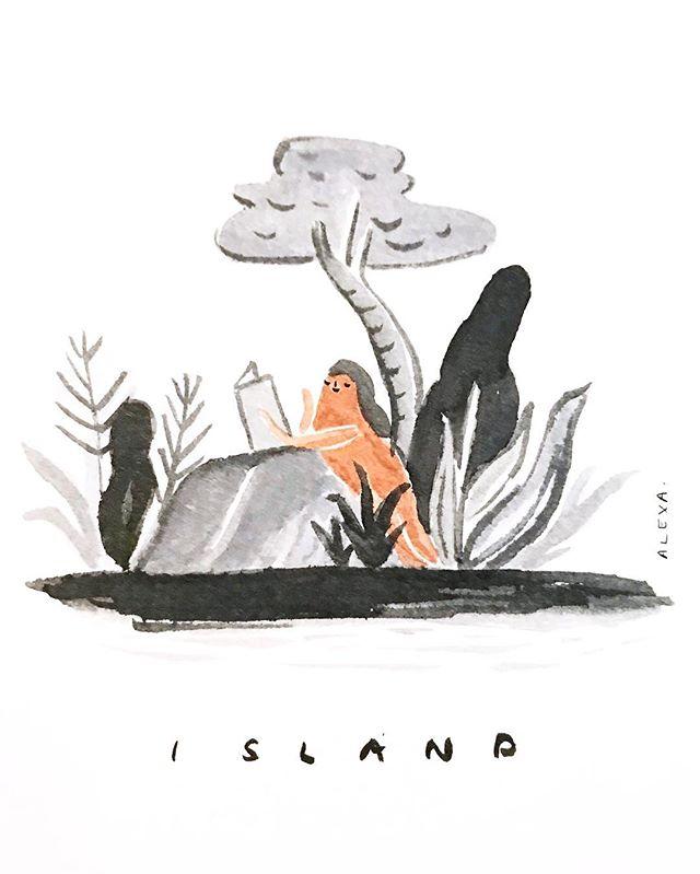 #flpinktober 09: Island • Losing my marbles because I'm losing my #inktober2018 streak. Just put me on an island with my favorite book.