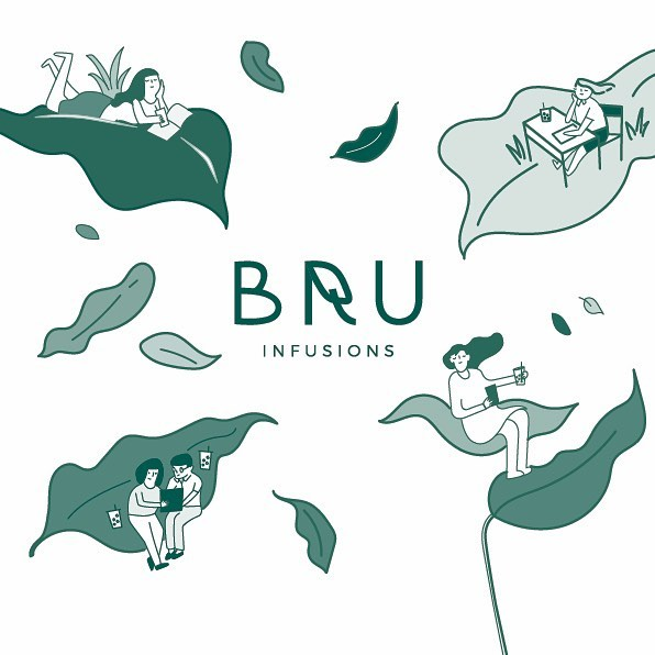 [2 of 3] Branding and illustration work for BRU – a homegrown brand offering speciality infusions that combine the goodness of cold brew tea and cold pressed juice. The concept derives from how BRU's refreshing tea infusions could offer a moment of respite in the busy CBD (central business district).